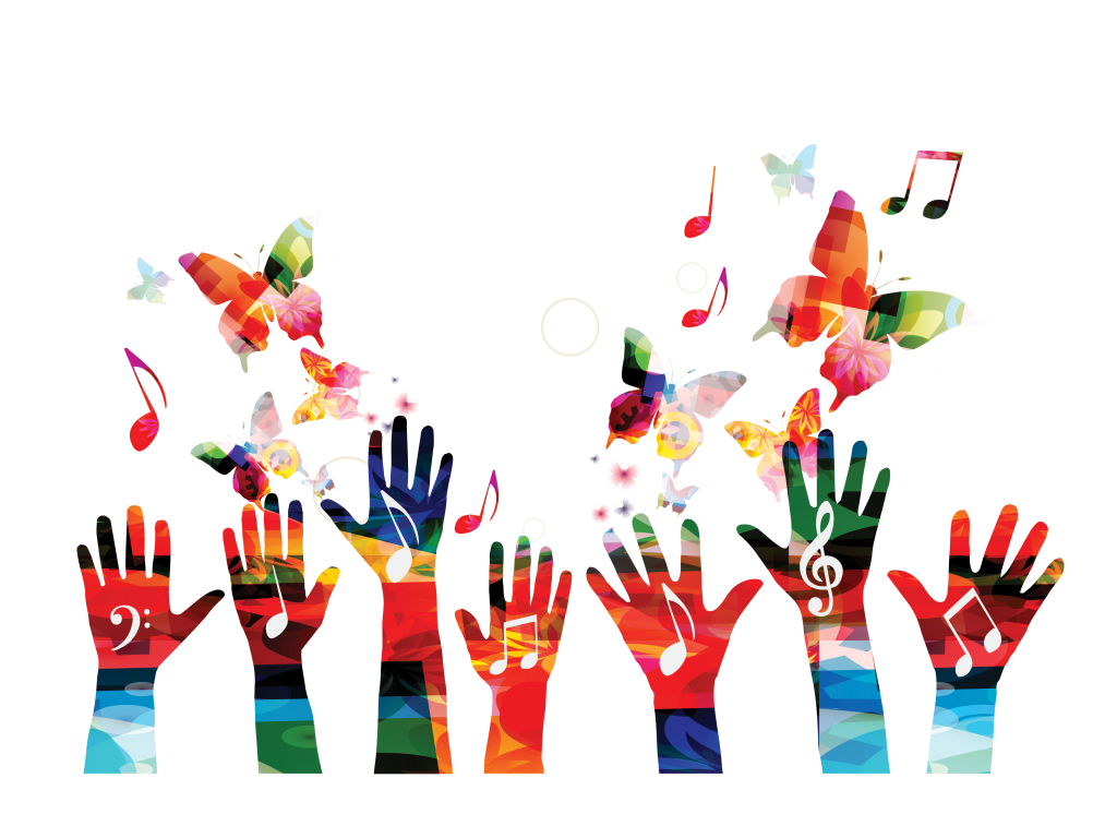 Participatory Creative Music Hub photo. Seven hands with music notes drawn on top of them, reaching towards butterflies and more music notes in the sky.